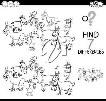 Black and White Cartoon Illustration of Finding Seven Differences Between Pictures Educational Activity Game for Children with Goats Farm Animal Characters Group Coloring Book