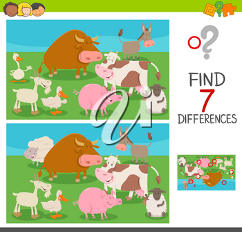 Cartoon Illustration of Finding Seven Differences Between Pictures Educational Activity Game for Children with Farm Animals