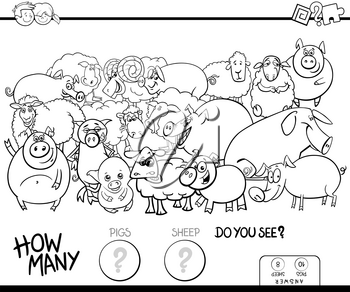 Black and White Cartoon Illustration of Educational Counting Game for Children with Pigs and Sheep Farm Animals Characters Group Coloring Book