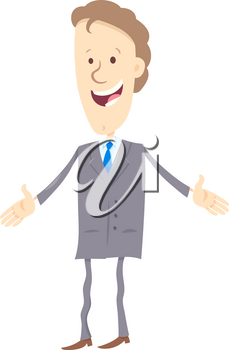 Cartoon Illustration of Businessman or Happy Man in Suit Character