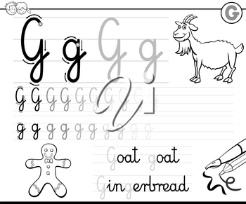 Black and White Cartoon Illustration of Writing Skills Practice with Letter G for Preschool and Elementary Age Children Color Book