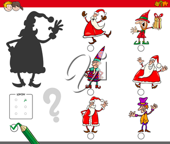 Cartoon Illustration of Finding the Right Shadow Educational Activity for Children with Christmas Characters