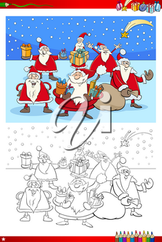 Coloring Book Cartoon Illustration of Santa Claus Christmas Group