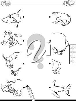 Black and White Cartoon Illustration of Educational Game of Matching Halves of Pictures with Wild Animals Color Book
