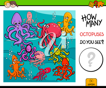Cartoon Illustration of Educational Counting Activity Game for Children with Octopus Animal Characters