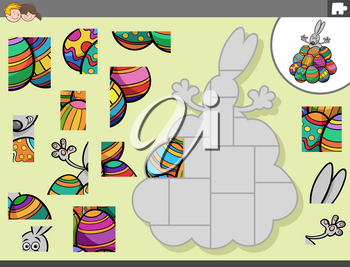 Cartoon Illustration of Educational Jigsaw Puzzle Game for Children with Easter Bunny Character with Easter Eggs