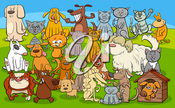 Cartoon Illustration of Dogs and Cats Animal Characters Group