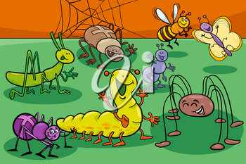 Cartoon Illustration of Cute Insects and Bugs Animal Characters Group