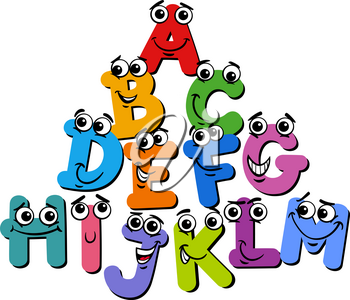 Cartoon Illustration of Funny Capital Letter Characters Alphabet Group