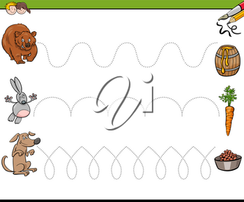 Cartoon Illustration of Tracing Lines Writing Skills Practice for Preschool and Elementary Age Children