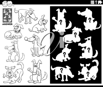 Black and White Cartoon Illustration of Match Objects and the Right Shape or Silhouette with Dogs Animal Characters Educational Game for Children Coloring Book Page