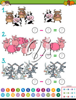 Cartoon Illustration of Educational Mathematical Subtraction Puzzle Game for Children with Farm Animal Characters