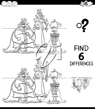 Black and White Cartoon Illustration of Finding Six Differences Between Pictures Educational Game for Children with Kings Fantasy Characters Coloring Book