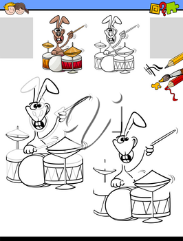 Cartoon Illustration of Drawing and Coloring Educational Activity for Children with Funny Rabbit Character Playing Drums