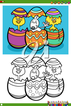 Cartoon Illustrations of Easter Bunny and Chicks with Eggs Coloring Book Page
