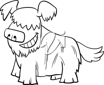 Black and White Cartoon Illustration of Happy Shaggy Dog or Puppy Comic Animal Character Coloring Book Page
