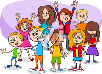 Cartoon Illustration of Teens or Elementary Age Children Characters Group