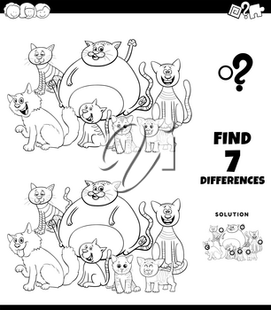 Black and White Cartoon Illustration of Finding Differences Between Pictures Educational Game for Children with Funny Cats Characters Group Coloring Book Page