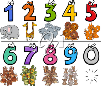 Cartoon Illustration of Educational Numbers Collection from One to Nine with Comic Wild Animal Characters
