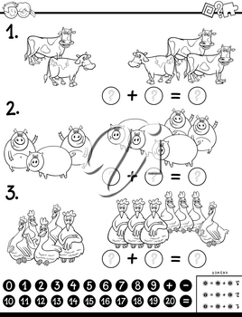 Black and White Cartoon Illustration of Educational Mathematical Subtraction Puzzle Task for Kids with Farm Animal Characters Coloring Book