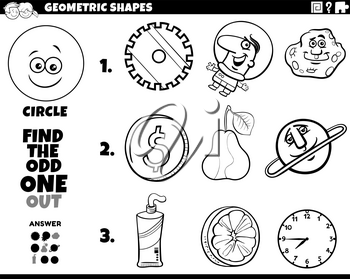 Black and White Cartoon Illustration of Circle Geometric Shape Educational Odd One Out Task for Children Coloring Book Page