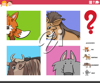 Cartoon Illustration of Educational Game of Guessing Animal Species Worksheet or Application for Children