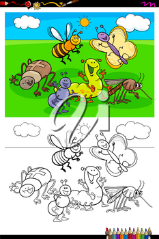 Cartoon Illustration of Funny Insects Animal Characters Coloring Book Activity
