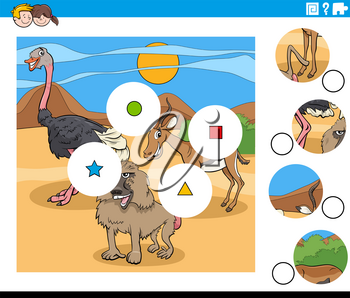 Cartoon illustration of educational match the pieces jigsaw puzzle game for children with wild animal characters group