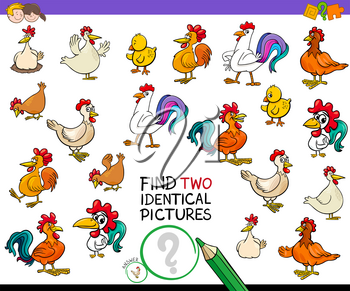 Cartoon Illustration of Finding Two Identical Pictures Educational Game for Children with Hens and Roosters Chicken Farm Animal Characters