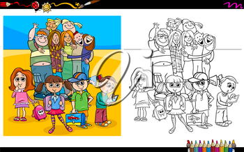 Cartoon Illustration of Happy Children and Teen Characters Coloring Book Activity