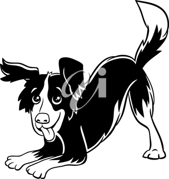 Cartoon Illustration of Happy Playful Black and White Dog Comic Animal Character Coloring Book Page