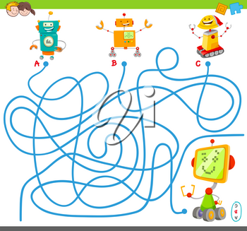 Cartoon Illustration of Lines Maze Puzzle Activity Game with Funny Robots or Droids Characters