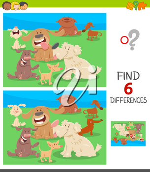 Cartoon Illustration of Finding Six Differences Between Pictures Educational Game for Children with Funny Dogs Animal Characters