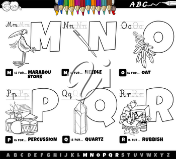 Black and white cartoon illustration of capital letters from alphabet educational set for reading and writing practise for children from M to R coloring book page