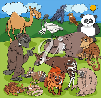 Cartoon illustrations of funny wild animals characters group