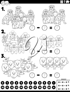 Black and white cartoon illustration of educational mathematical subtraction puzzle task for children with purebred dogs animals characters coloring book page