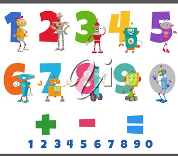 Cartoon illustration of educational numbers set from one to nine with funny robots characters