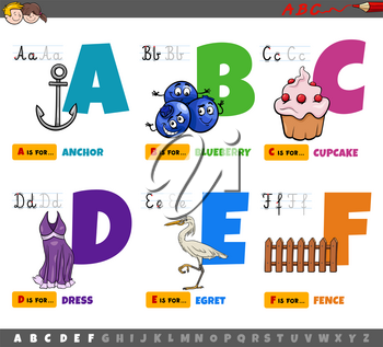 Cartoon illustration of capital letters from alphabet educational set for reading and writing practice for children from A to F