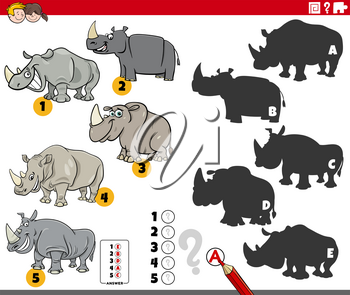 Cartoon illustration of finding the right shadows to the pictures educational game for children with rhinoceros animal characters