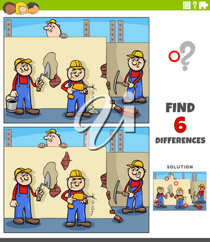 Cartoon illustration of finding the differences between pictures educational game for children with workers or builders characters on construction site