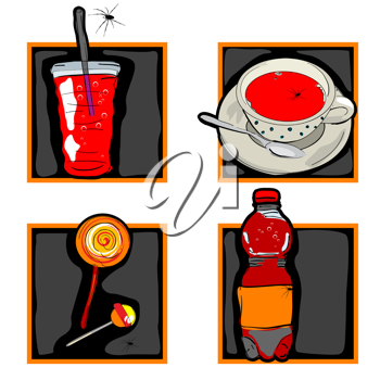 Royalty Free Clipart Image of Halloween Food Icons