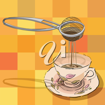 hand drawn illustration of a tea strainer and a cup over a tablecloth pattern with squares