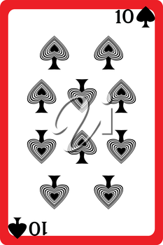Scale hand drawn illustration of a playing card representing the ten of spades, one element of a deck