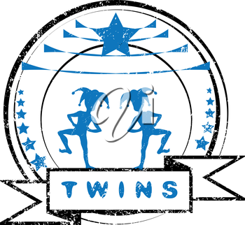 Twins grungy stamp with two children costumed as harlequins, imprint isolated on white