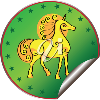 Royalty Free Clipart Image of a Unicorn Sticker