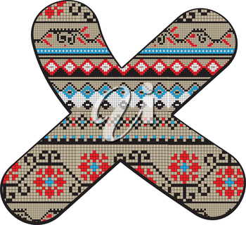 Decorated original font, pixel art ethnic model inspired by a Balkan motif over a funny fat capital letter X isolated on white