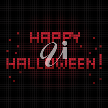 Halloween greetings card, pixel illustration of a scoreboard composition with digital  text and blood sprinkles