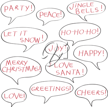 Comics speech bubbles with Christmas greetings text, elements isolated isolated on white