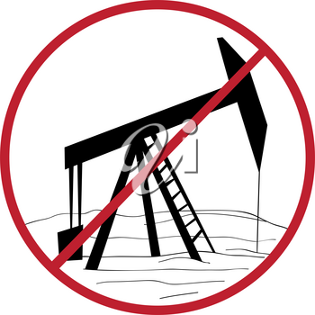 Climate change solution illustration, hand drawn sticker isolated on white, ban oil rig message
