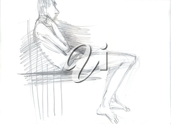 Hand drawn illustration of a man in a sitting position, original artistic sketch over white